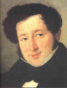 Gioachino Rossini in un ritratto giovanile