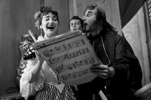 Maria Callas con Nicola Rossi-Lemeni e Tito Gobbi, alla Scala nel 1955