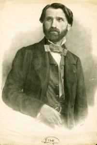Giuseppe Verdi nel 1842 (litografia di Roberto Focosi)